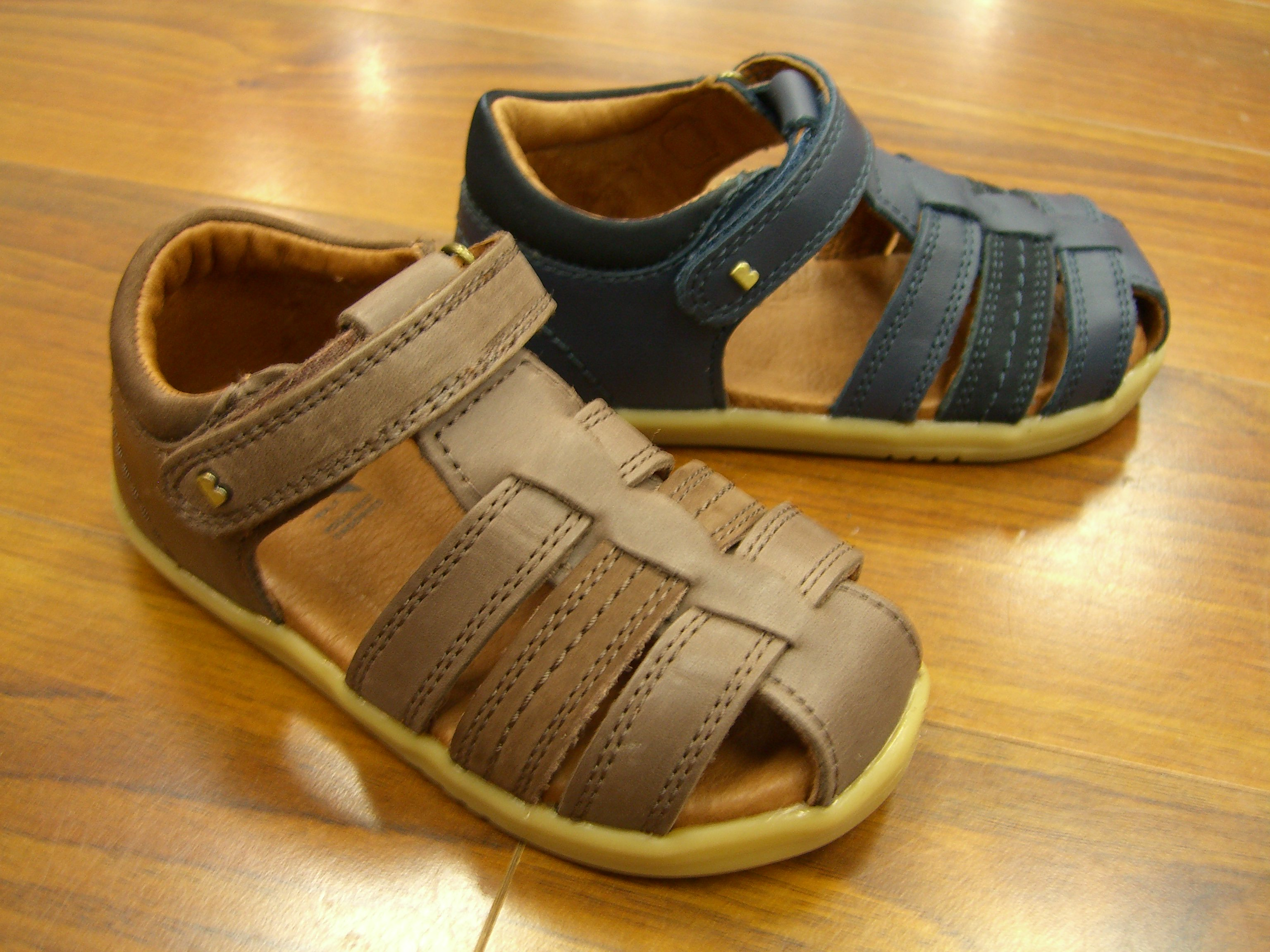 1be37256e bobux iw roam brown & navy boys leather sandals sizes 22-26
